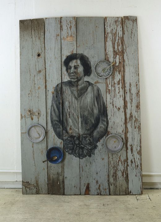 Mercy, 1999 Charcoal on wood, found objects