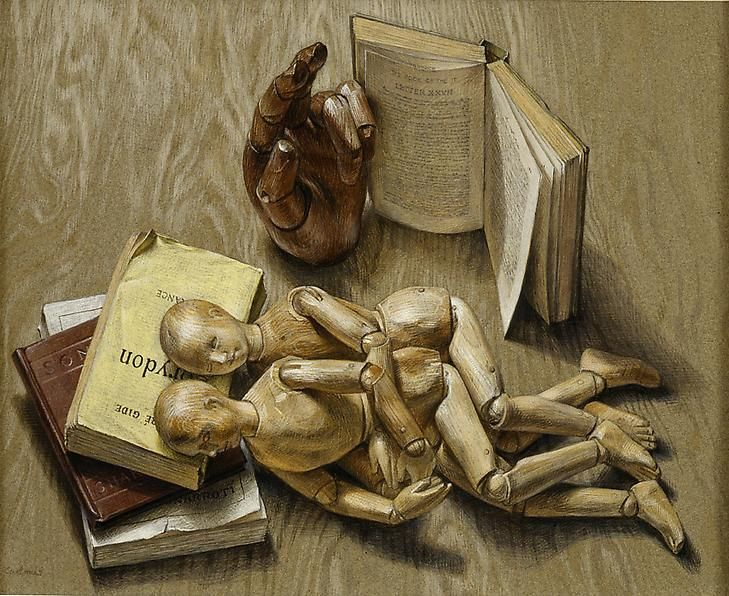 Manikins, 1951 Egg tempera on paper
