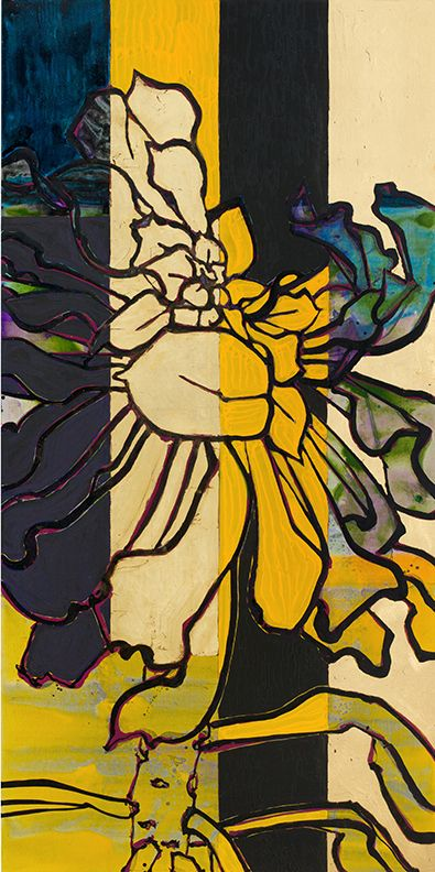 Aonium: Ochre and Black, 2015, Oil, acrylic, and gold leaf on canvas