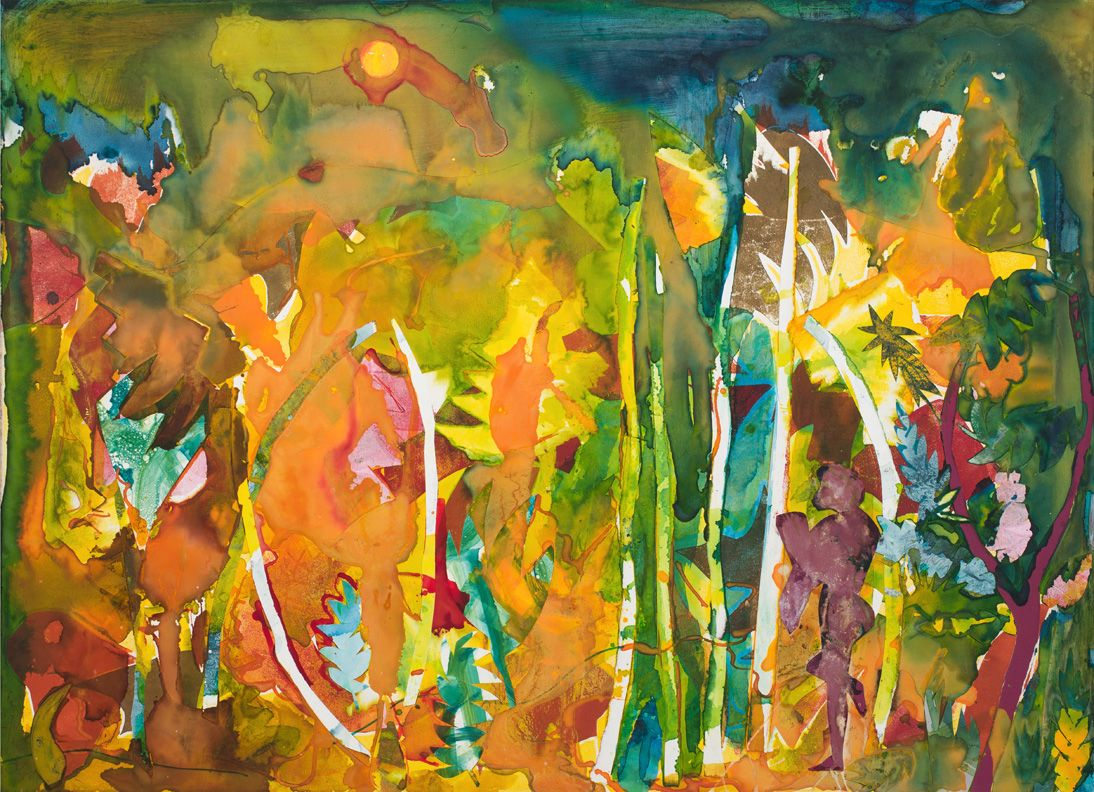 Mecklenburg Autumn: September - Sky and Meadow, 1983, Collage and oil on fiberboard
