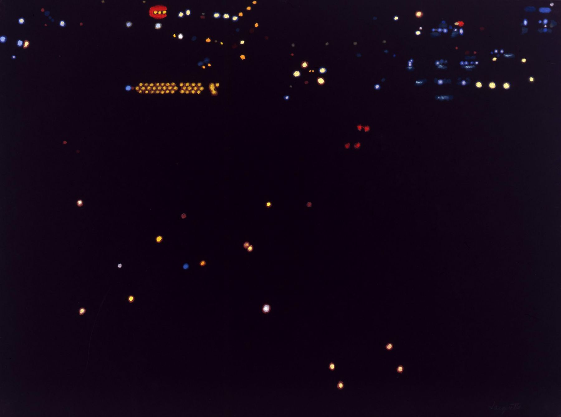 Maine Night Lights B (from Helicopter), 2007, Pastel on paper
