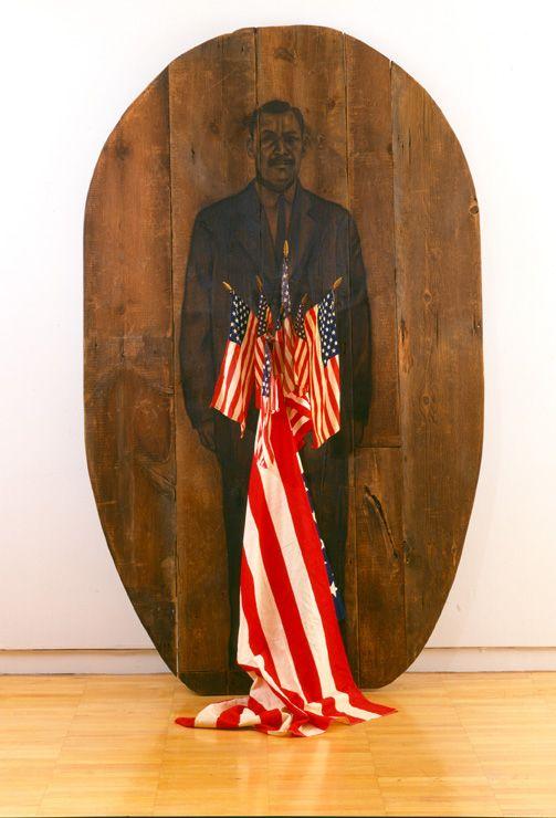 America, 2000 Charcoal on wood, flags