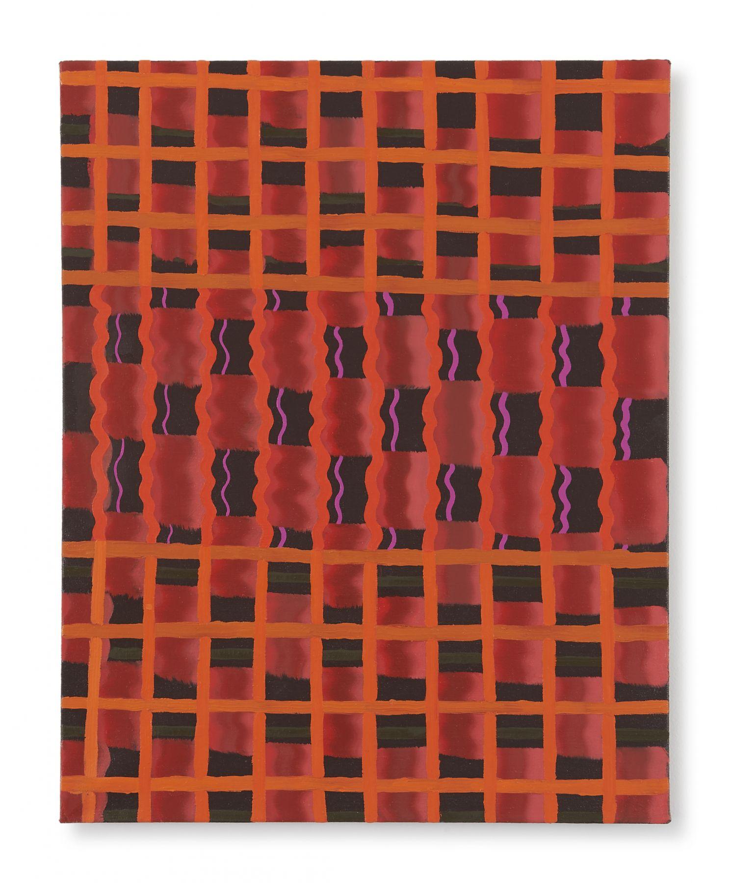Beverly Acha Untitled (red-orange-grid), 2017