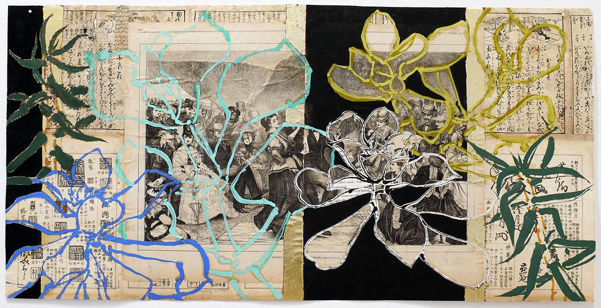 Dancing for Royalty, 2015, Oil, acrylic, gold leaf, and collage on paper