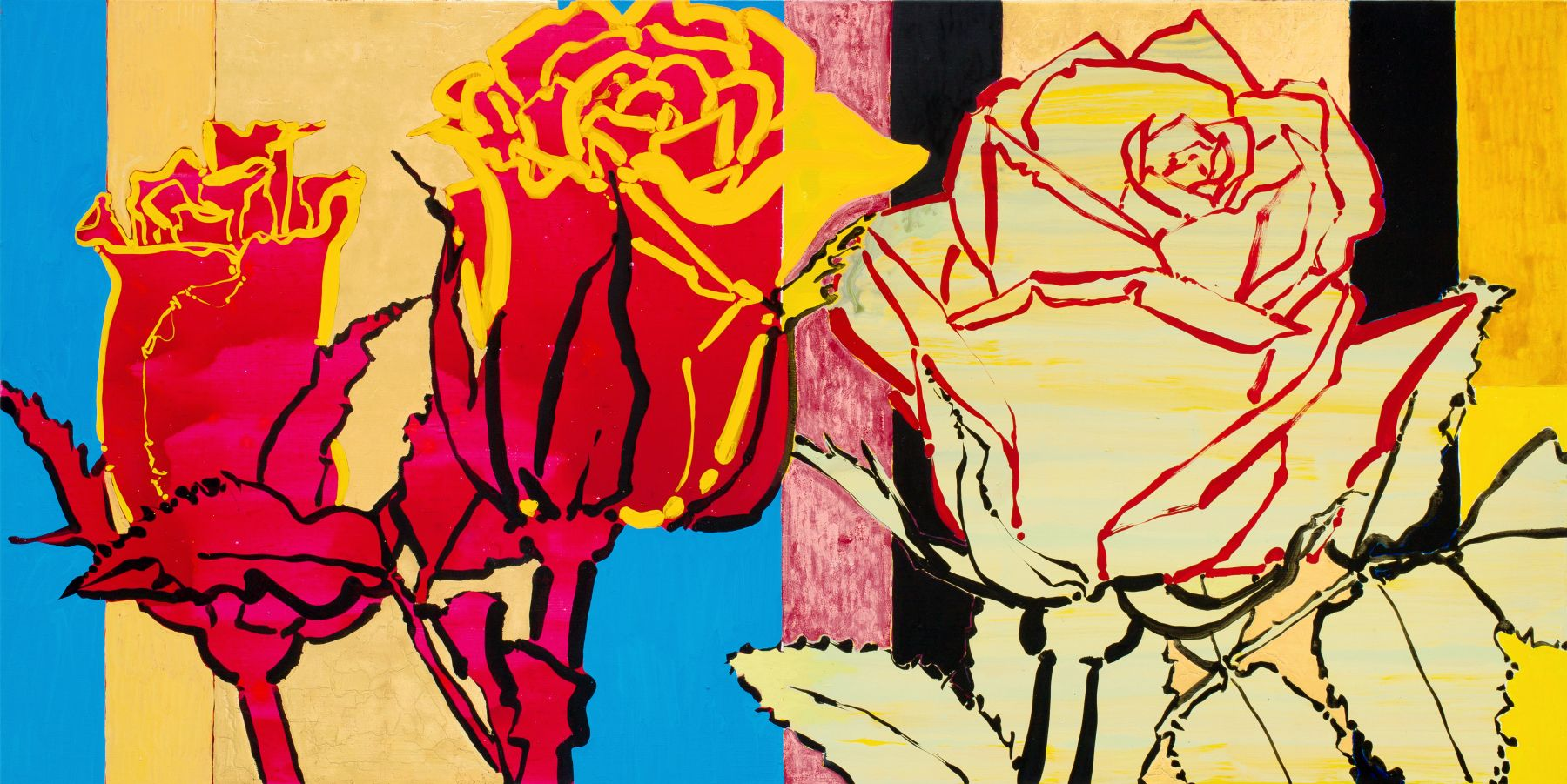 Red on Yellow, Yellow on Red Roses, 2017, Oil, acrylic, and gold leaf on canvas