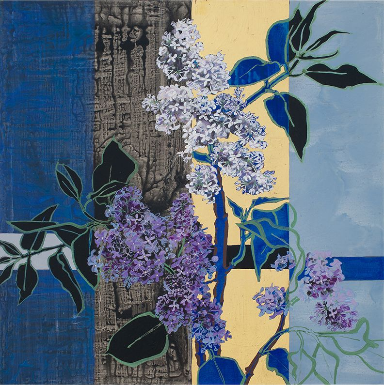 Two Lilacs, 2016, Oil, acrylic, and gold leaf on canvas