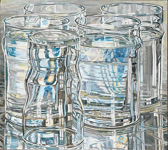 Five Tall Glasses, One Dawn Morning, 1975. Oil on linen, 36 1/4 x 40 1/8 in.