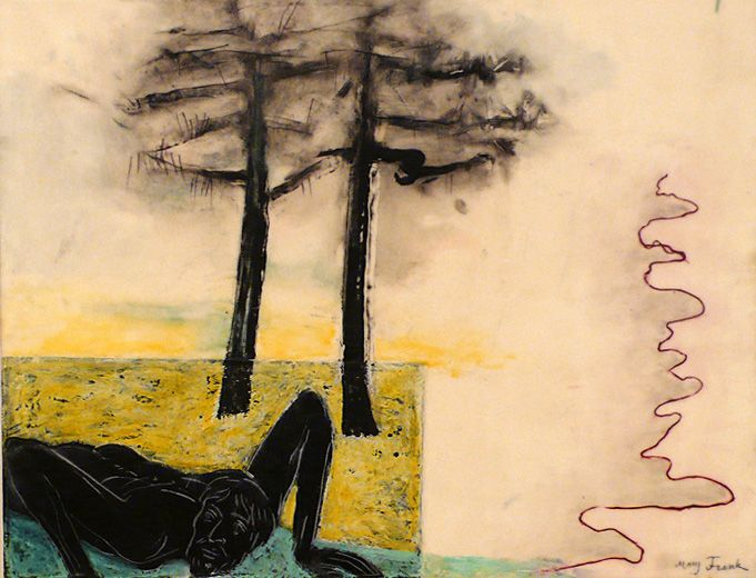 Untitled (Prone Man, Two Trees), 2002, Oil and encaustic on board