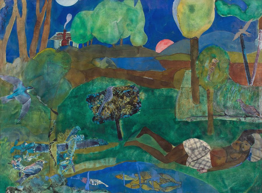 Green Times Remembered - Recollections Pool, 1970, Collage with acrylic on paper