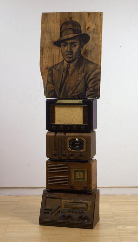 Lenox, 2008 Conte on wood, radios