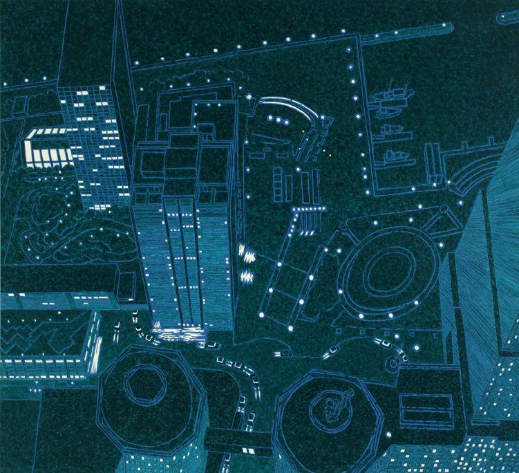 Vertiginous World Financial Center III, 2007, Oil on canvas
