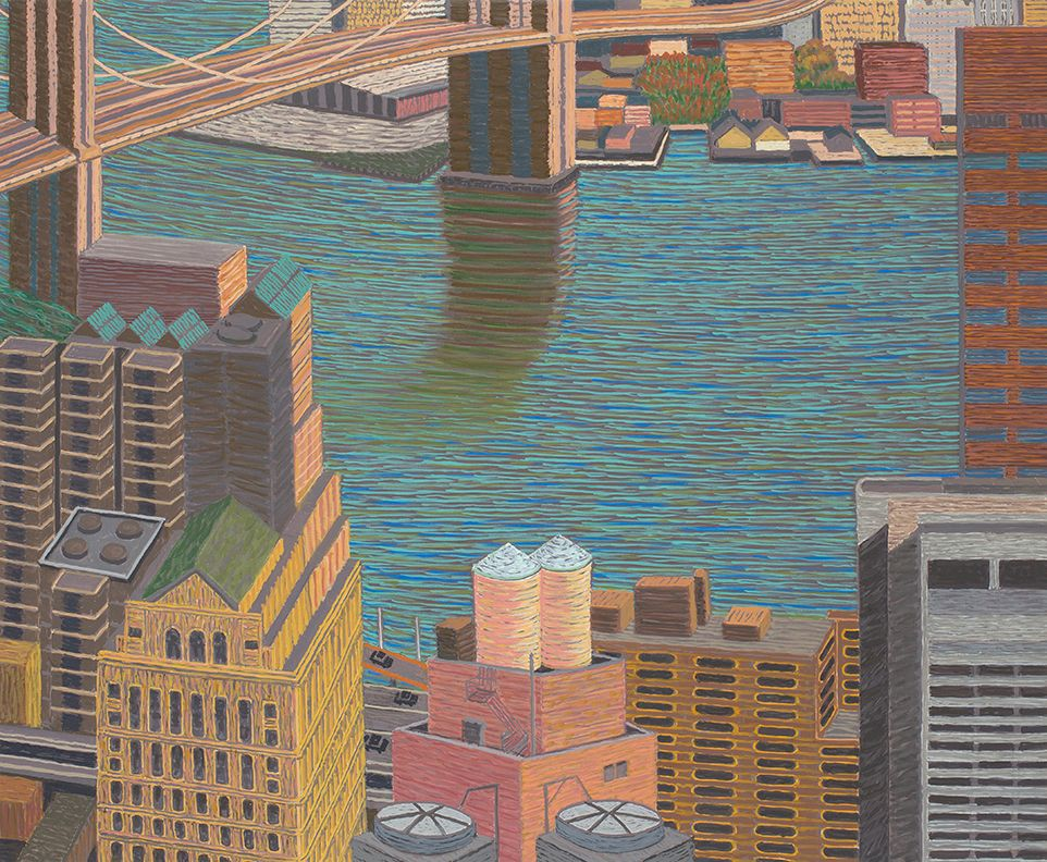 Brooklyn Bridge View with Double Water Towers, 2015, Oil on linen