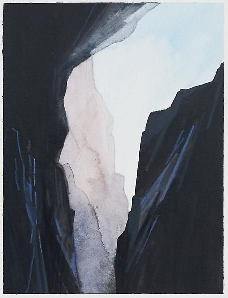 Crevice, 2014 Mixed media on paper, 5 3/4 x 4 3/8 inches (image); 12 x 9 inches (paper)