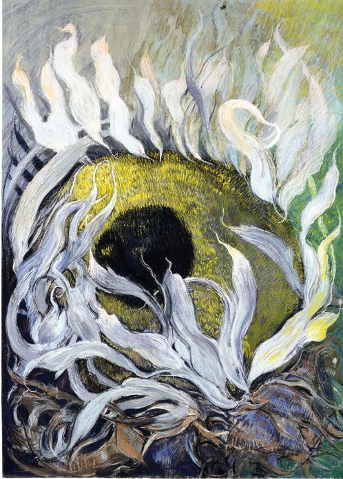 White Sunflower, 1996, Pastel on lanaquarelle signed and dated lower right
