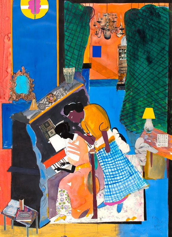The Piano Lesson, 1984, Gouache, watercolor, and collage on paper