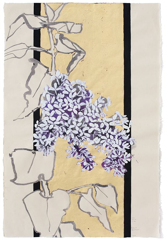 One White Lilac, 2016, Acrylic, ink, and collage on paper