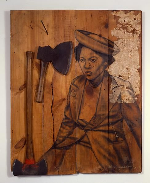 Cut, 2008 Conte crayon and wall paper on wood, axes, nails