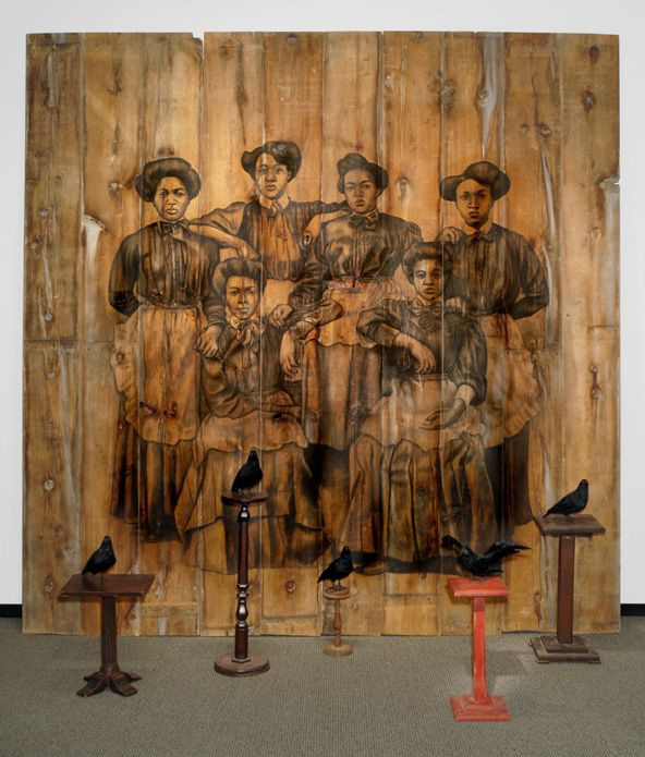 Servilis, 2006 Conte on wood, pedestals, stuffed bird replicas