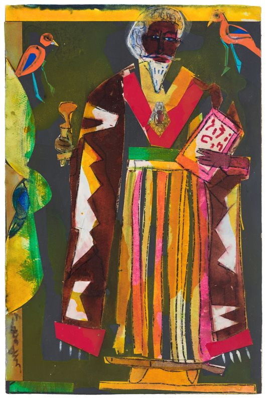Bayou Fever, Wisdom, 1979, Collage and acrylic on fiberboard