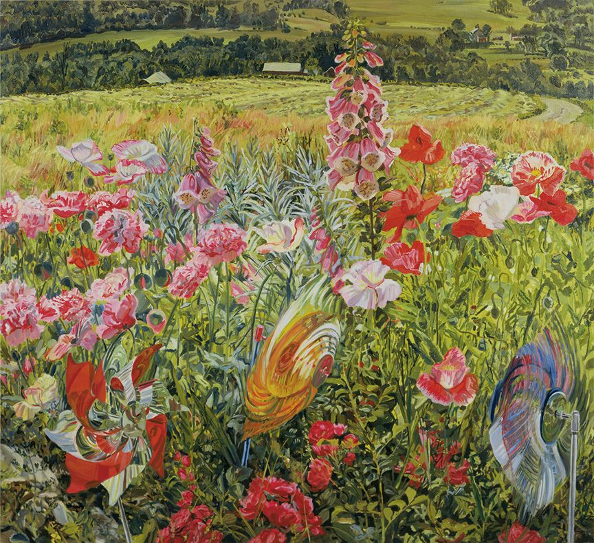 Pinwheels and Poppies, 1990, Oil on canvas