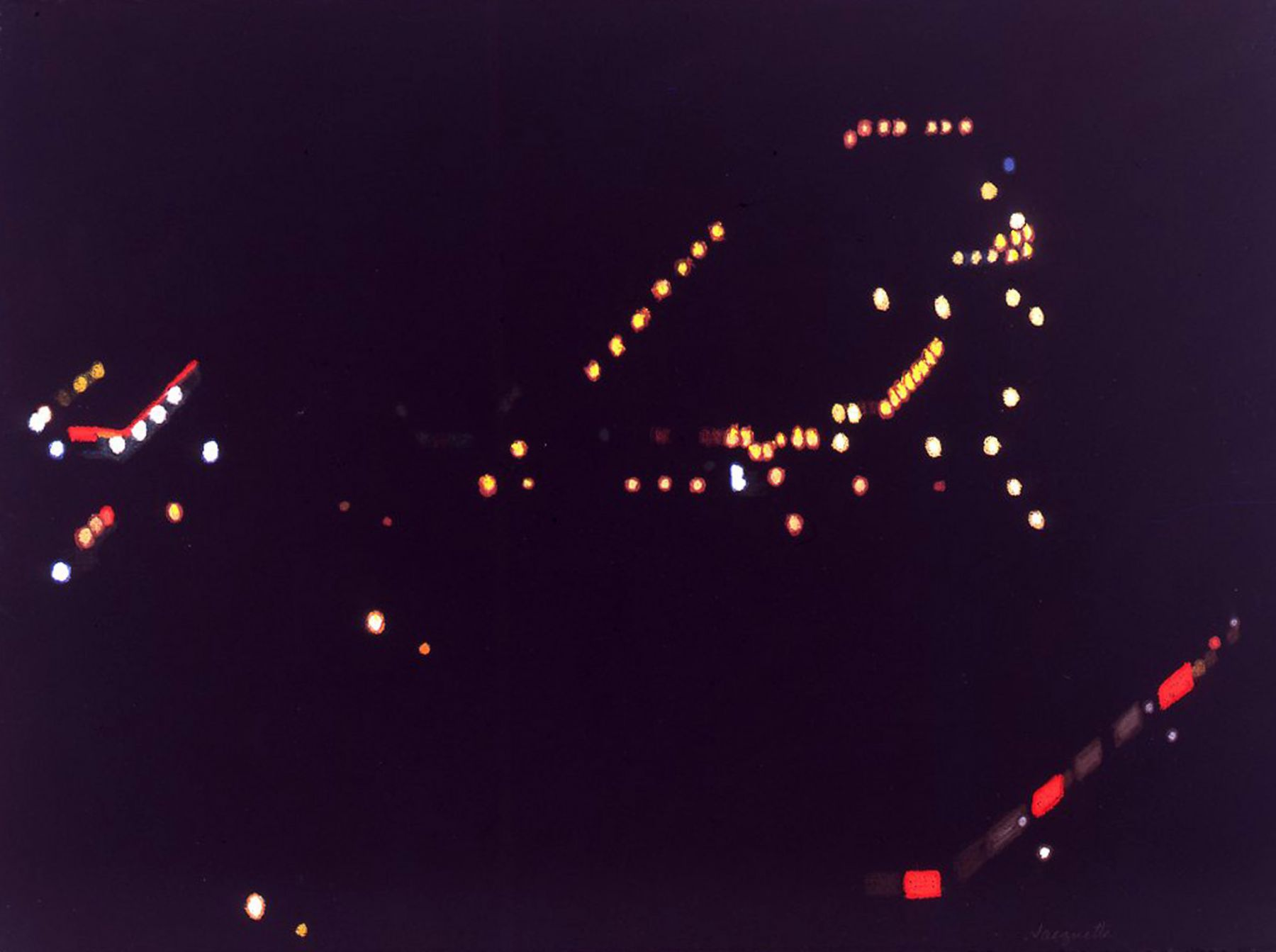 Maine Night Lights A (from Helicopter), 2007, Pastel on paper