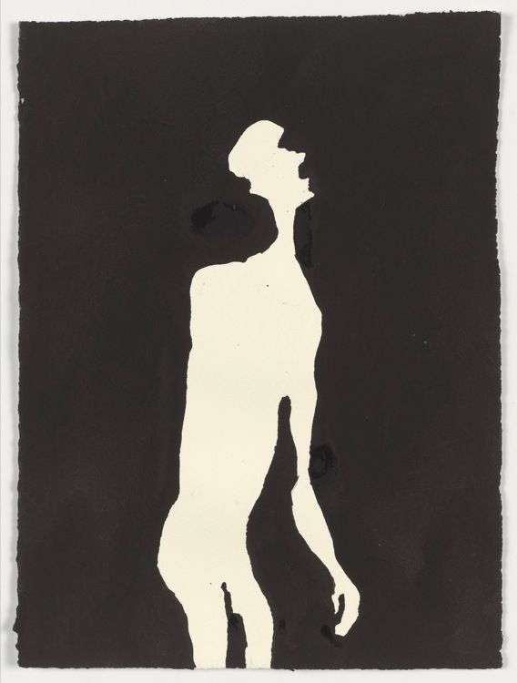 PROPRIOCEPTION III, 2002, carbon and casein on paper