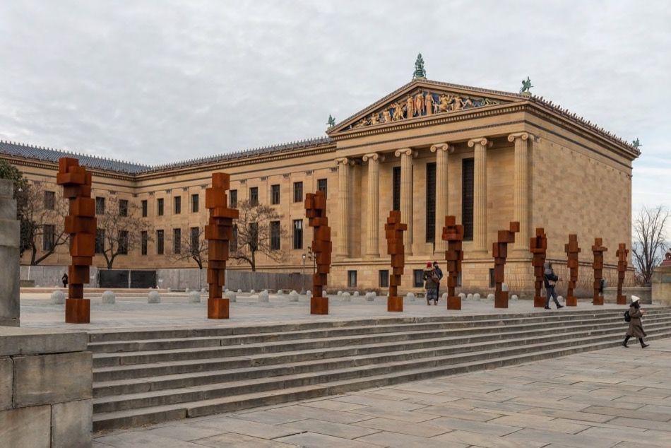 Antony Gormley: STAND, 2019, Installation view, Philadelphia Museum of Art, PA, USA