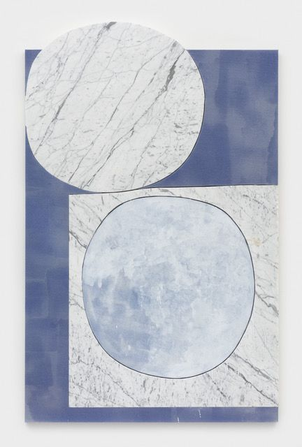 Piece Apart, 2019, Carrara marble, painted canvas mounted to MDF panel