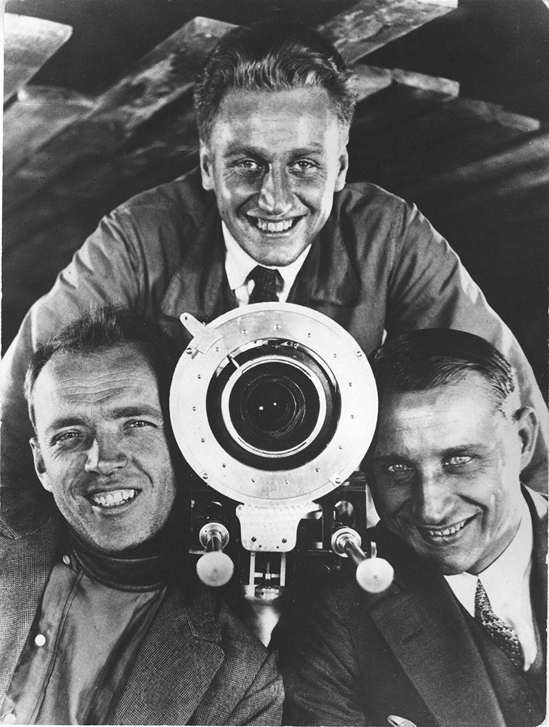 Filmmakers Eduard Tisse, Grigori Aleksandrov and Sergey Komarov,1926, Gelatin silver print, printed later