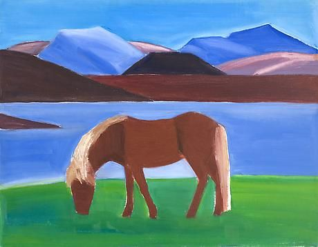 Brown Horse and Mountain