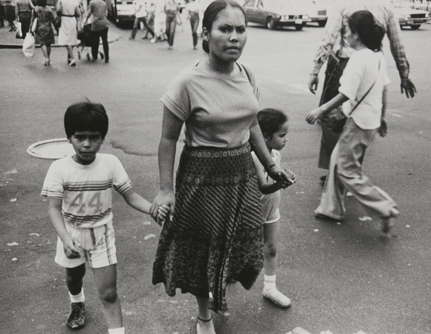 Rudy Burckhardt Untitled, New York (Woman with two children), c. 1985