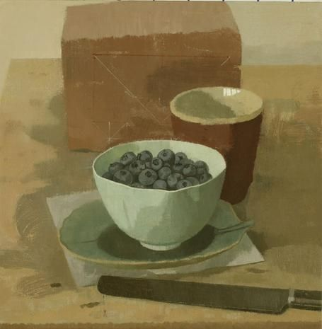 Blueberries in a Bowl with Red Cup, Knife, and Brick