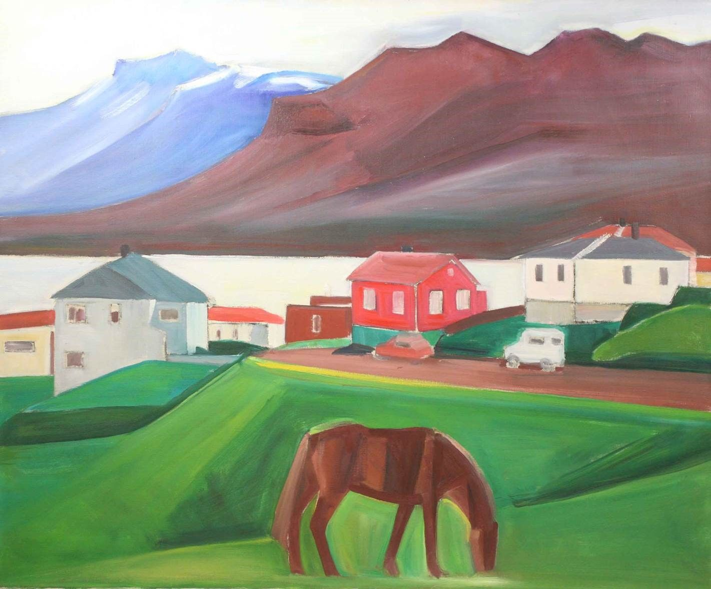 Icelandic Village Scene with Brown Horse and Cars