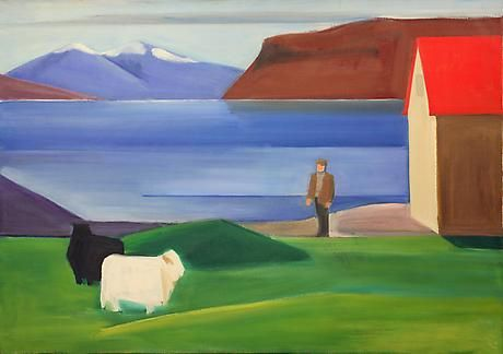 Icelandic Landscape with Sheep, Man and Red Roof