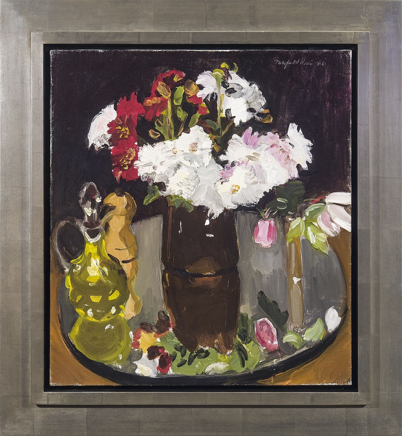 Fairfield Porter, Still Life of Flowers on a Mirror, 1966