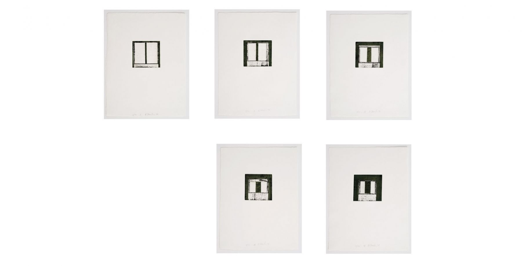 """Brice Marden's Focus I-V. (1979-80. Suite of five color etchings with aquatint. 15"""" x 11"""" each) at Anita Rogers Gallery"""