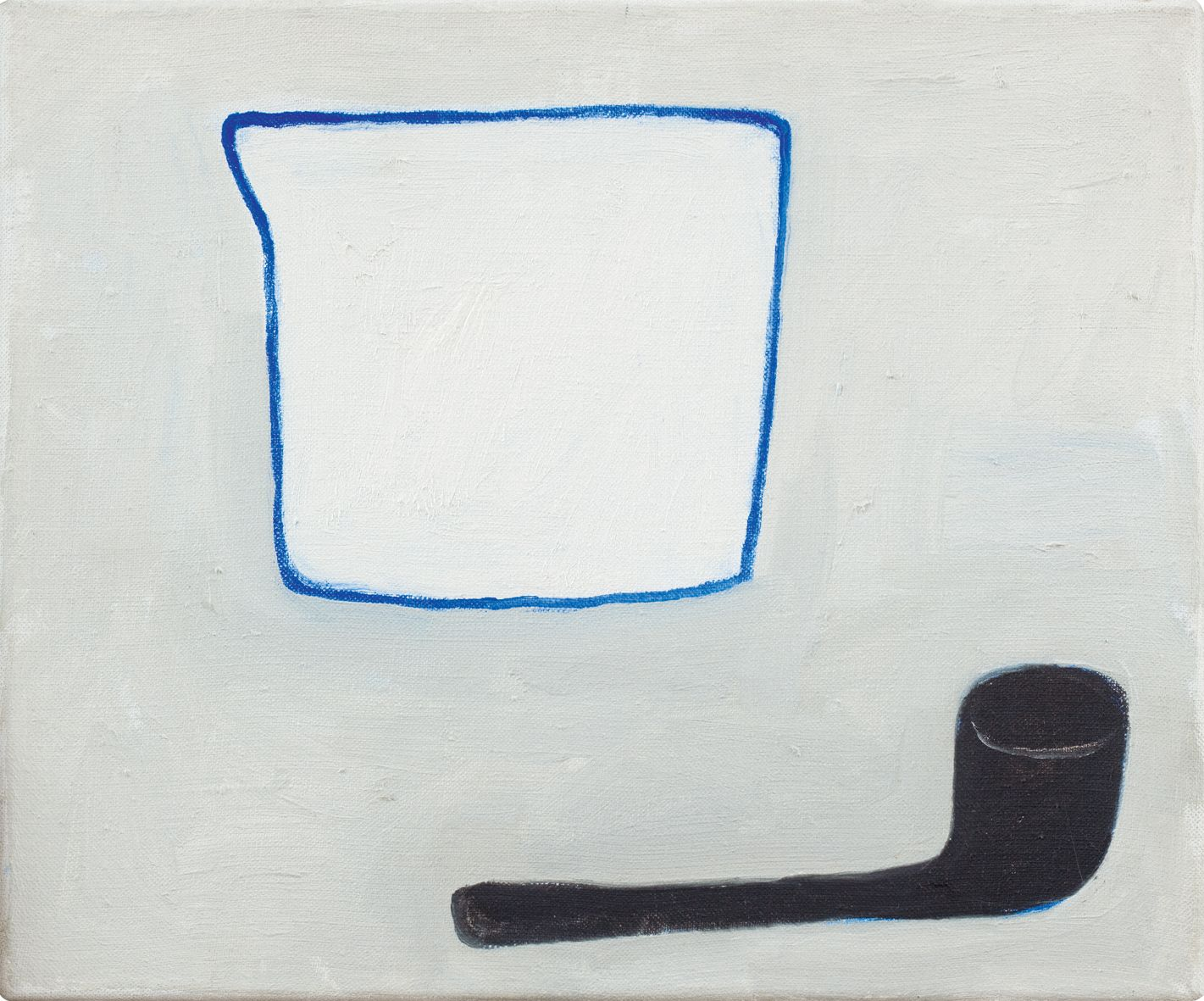 """William Scott. Jug and Pipe. 1983. Oil on canvas. 10"""" x 12"""" at Anita Rogers Gallery"""