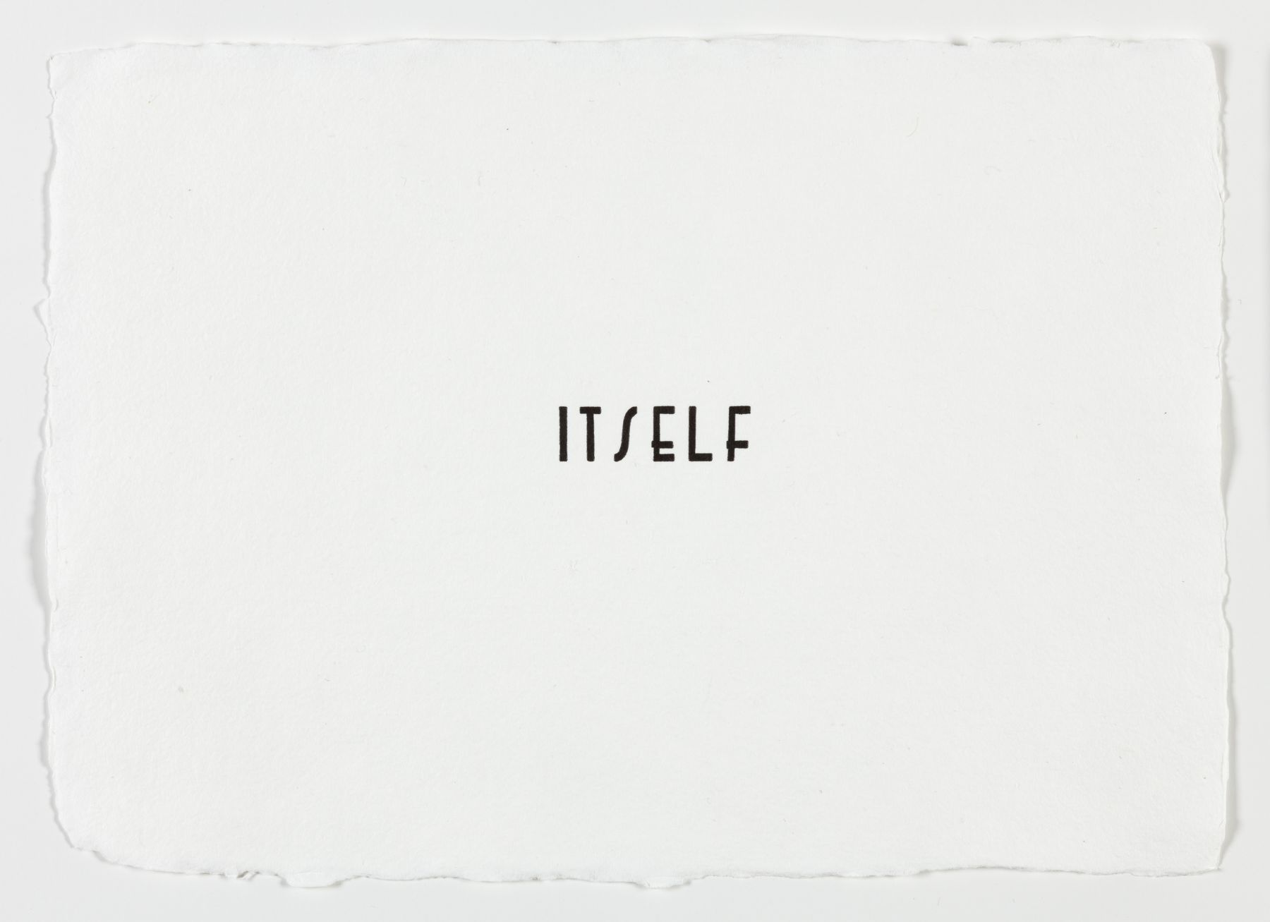 "Morgan O'Hara. LETTERPRESS SERIES: ITSELF #68. 2017. Letterpress printer's ink on handmade paper. 11"" x 7 3/4"" at Anita Rogers Gallery"