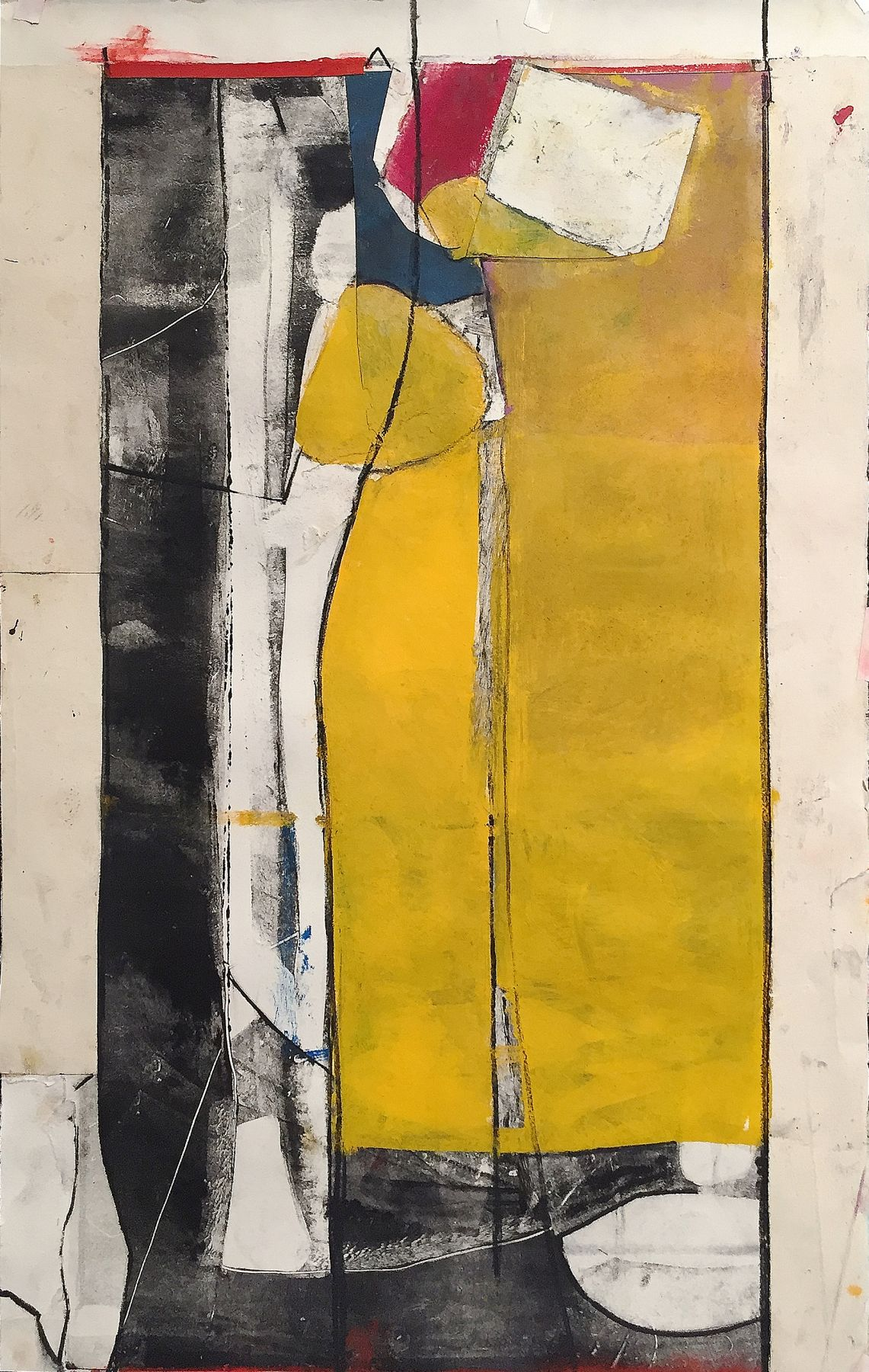 """Robert Szot. Study For Distancia. 2017. Monotype collage, mixed media on paper. 25"""" x 15 1/2"""""""