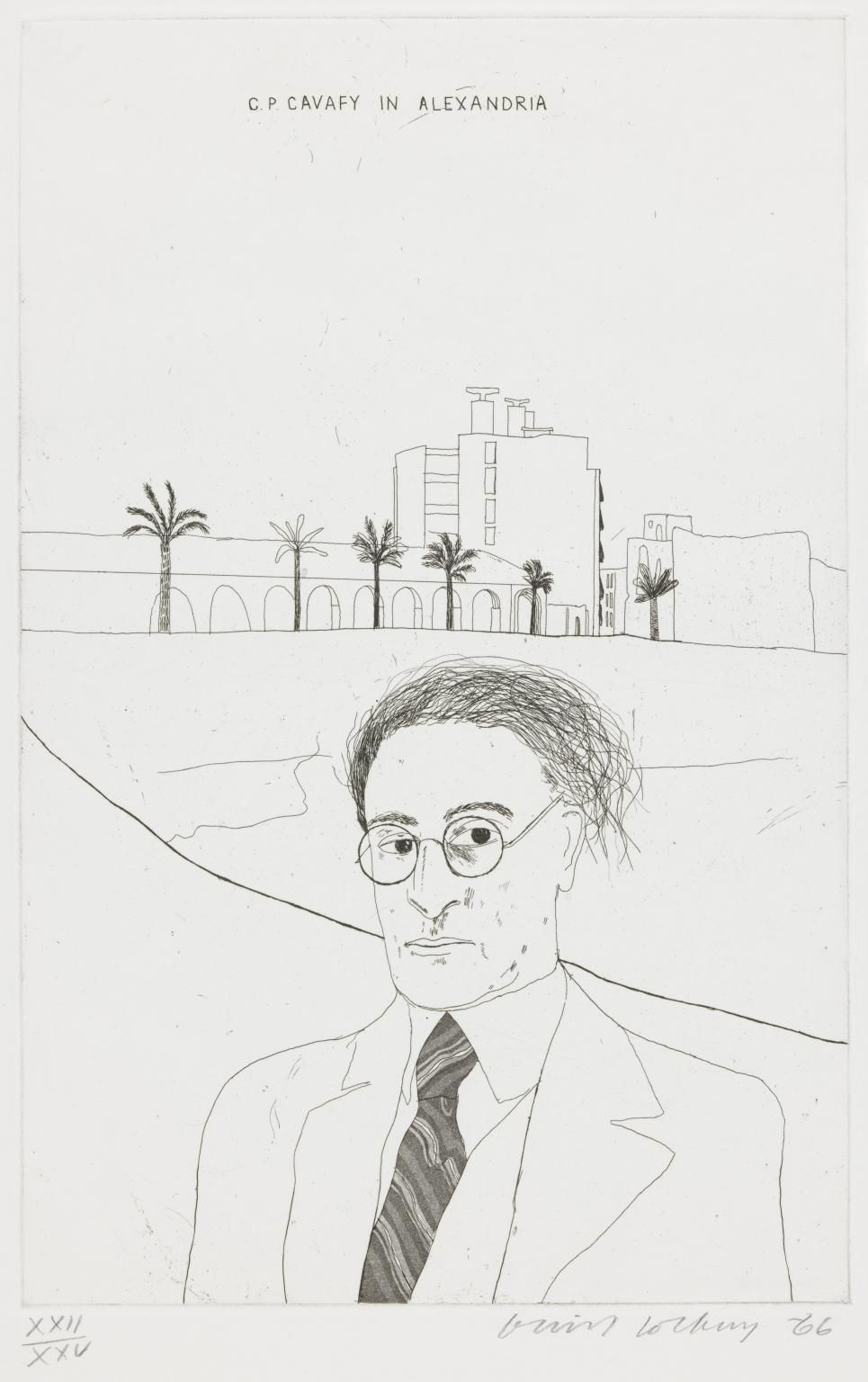 "David Hockney, Portrait of Cavafy in Alexandria, 1966, Etching and aquatint on paper, 13 13/16"" × 8 7/8"" at Anita Rogers Gallery"