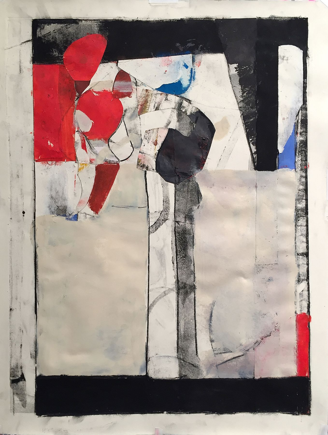 """Robert Szot. Maquiladora. 2017. Monotype collage, mixed media on paper. 26"""" x 20"""""""