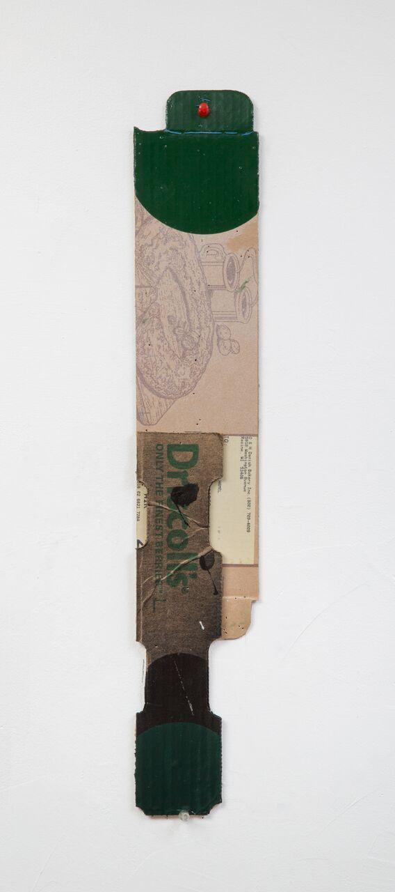 """George Negroponte's Wish List (2016. Enamel & latex on cardboard. 23"""" x 4"""") at Anita Rogers Gallery"""