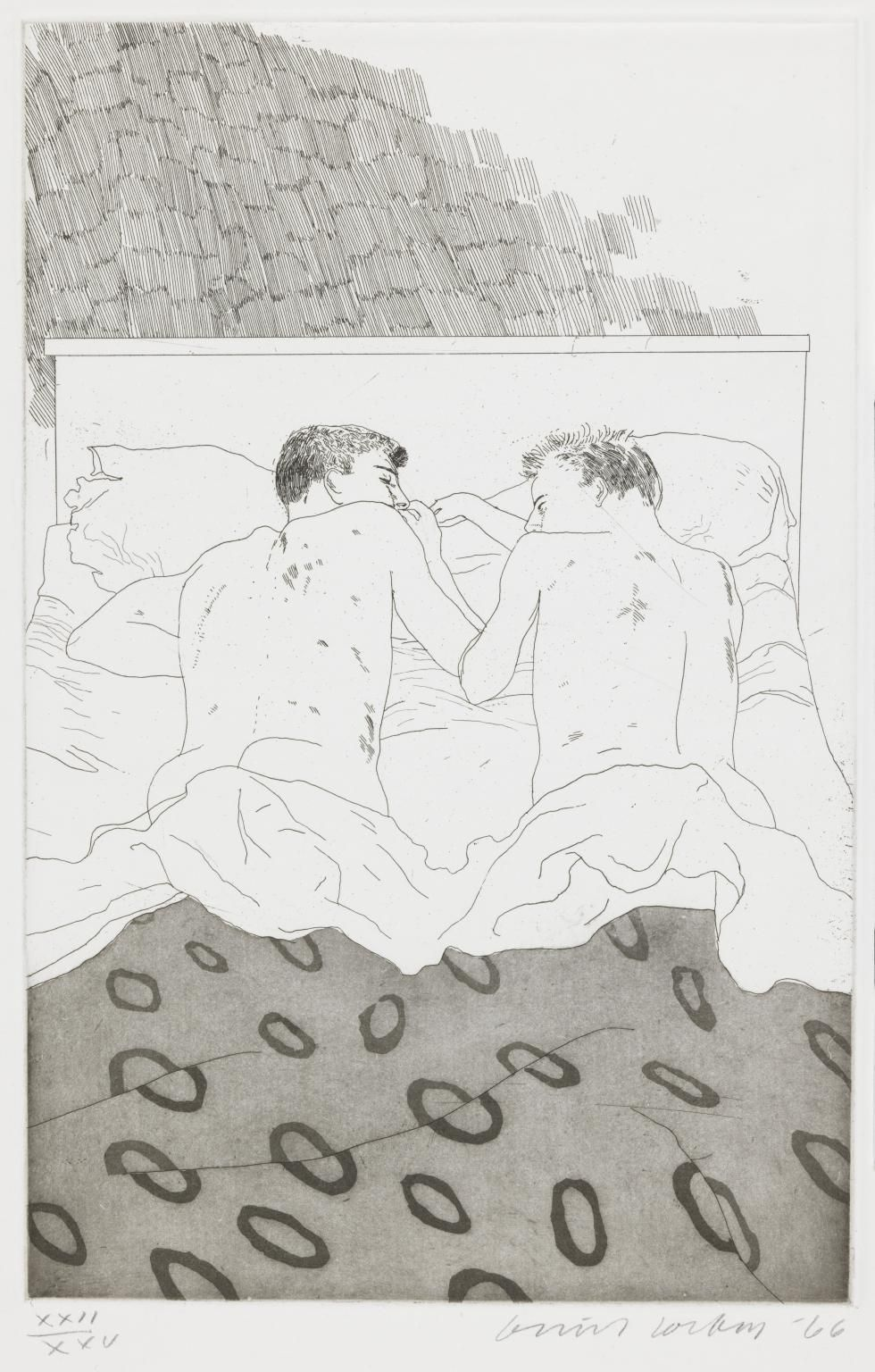 "David Hockney, Two Boys Aged 23 or 24, 1966, Etching and aquatint on paper, 13 13/16"" × 8 7/8"" at Anita Rogers Gallery"