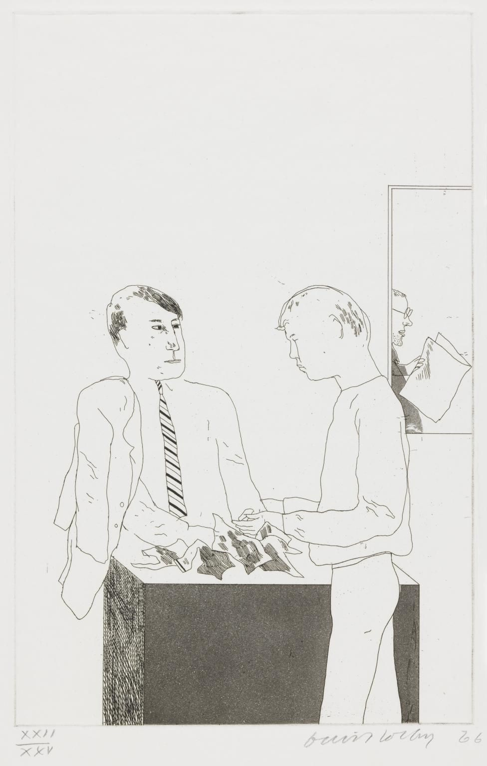 "David Hockney, He Enquired After the Quality, 1966, Etching and aquatint on paper, 13 13/16"" × 8 7/8"" at Anita Rogers Gallery"