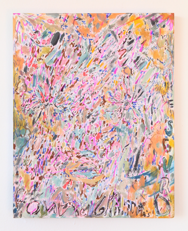 """Hayley Barker, Found Grandma's Drugs (MAGIC), 2017, oil paint, colored pencil, marker, and oil pastel on panel, 14"""" x 11"""" at Anita Rogers Gallery"""