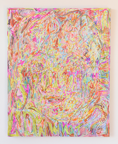 """Hayley Barker, Opened my root chakra now what? Volcano, 2017, oil paint, colored pencil, marker, and oil pastel, 20"""" x 16"""" at Anita Rogers Gallery"""