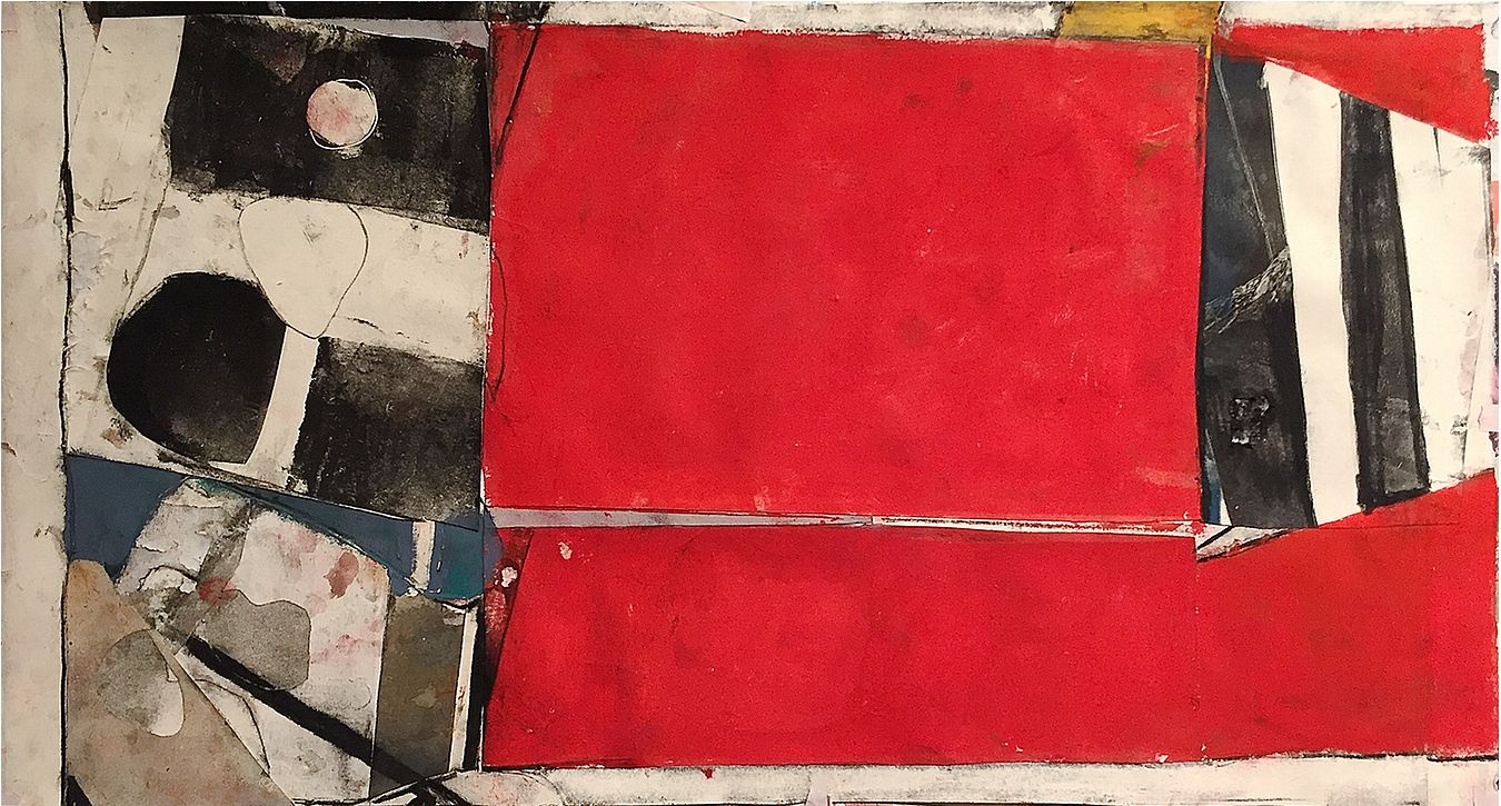 "Rob Szot. Semaphore (False Flag). 2017. Monotype collage, mixed media on paper. 14"" x 26"". Anita Rogers Gallery"