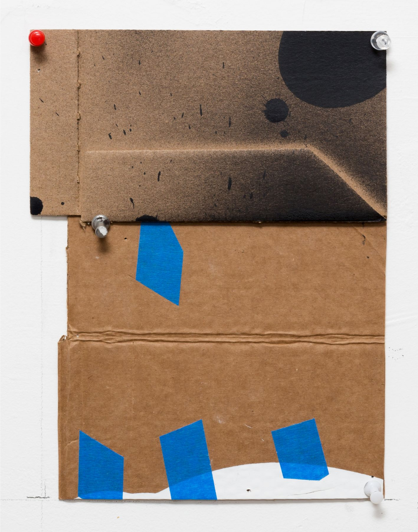 """George Negroponte's Lost (Tape, enamel, acrylic and spray paint on cardboard, 9 3/4"""" x 6 3/4"""") at Anita Rogers Gallery"""