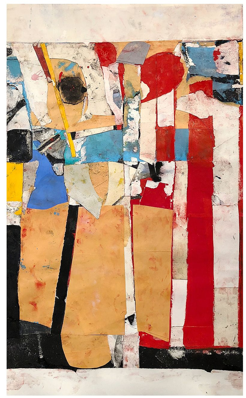 "Robert Szot. Los Angeles Remembers. 2018. Monotype collage, mixed media on paper. 27"" x 16 1/2"""