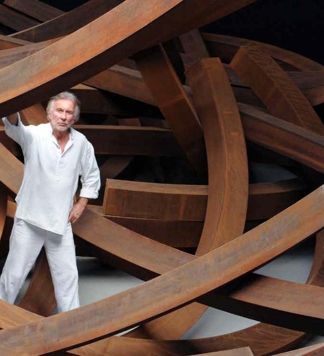 Bernar Venet and his Effondrement : 200 tonnes, Le Muy, 2017